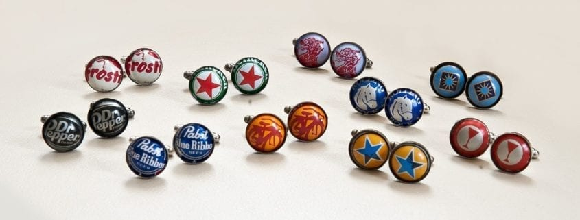 off the cuff collection, bottle cap cufflinks, beer cufflinks, groomsmen gifts, wedding gifts, pabst blue ribbon, custom cufflinks